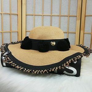 Betsey Johnson Accessories - Betsey Straw Pom Pom Beach Floppy Hat 29a045020b37
